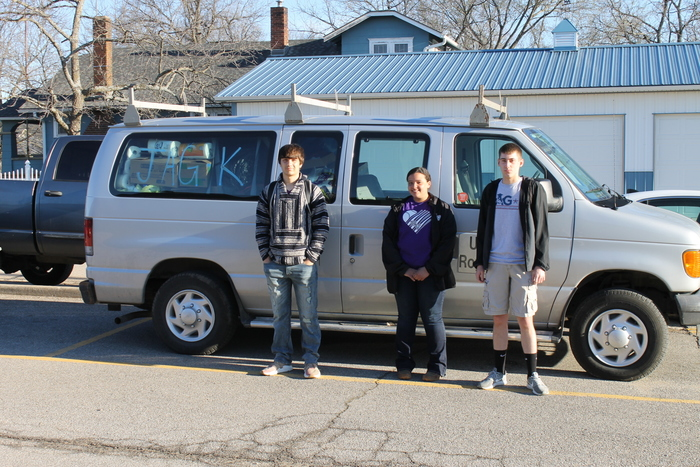 JAG students & school van