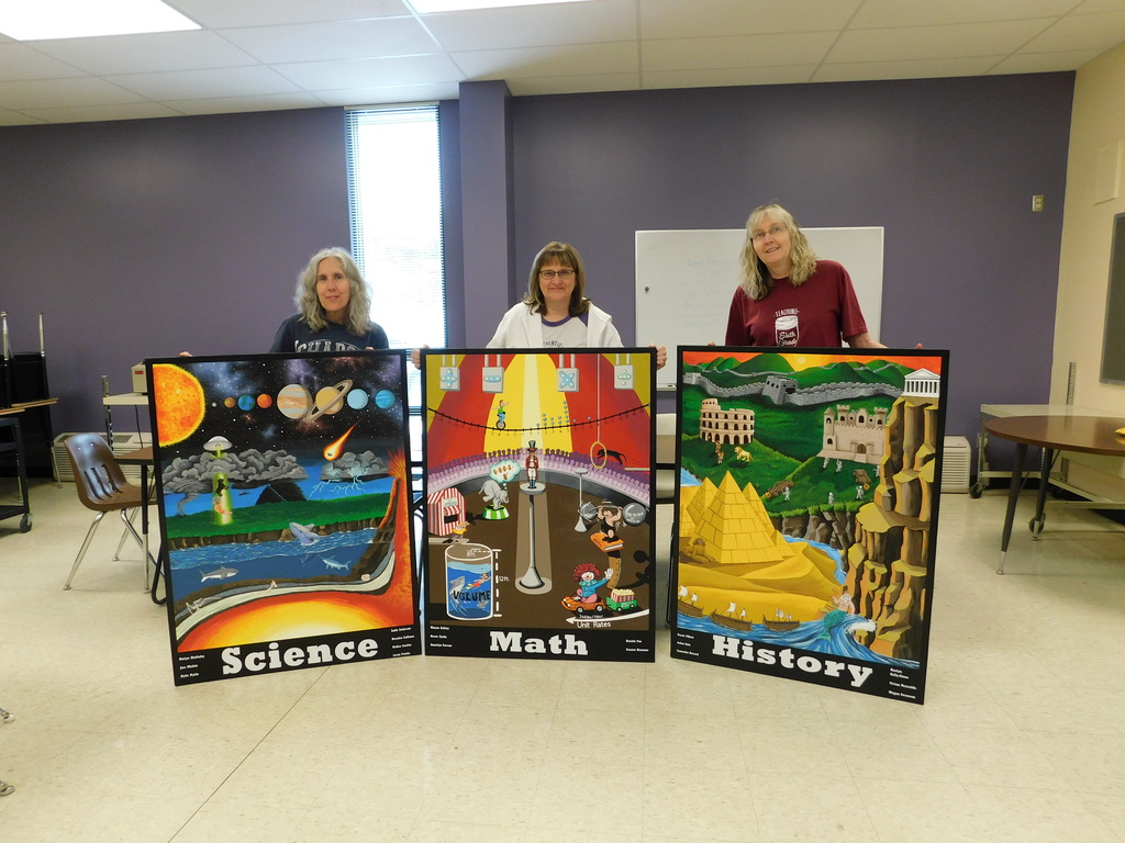 Each mural fits what content area the teachers teach. Science, Math and History.
