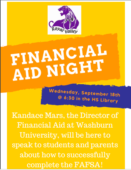 Financial Aid Night - September 18th @ 6:30pm
