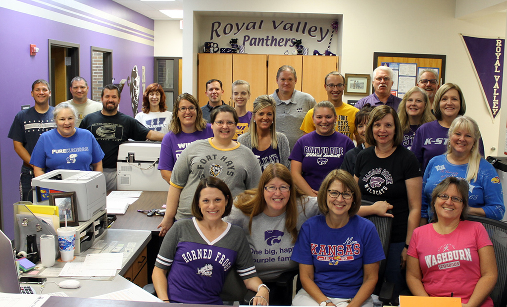 RVHS Staff wearing college shirts