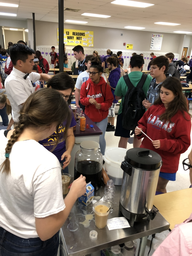 Students lined up for coffee