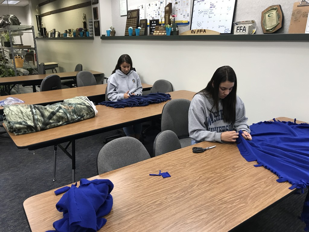 students making blankets