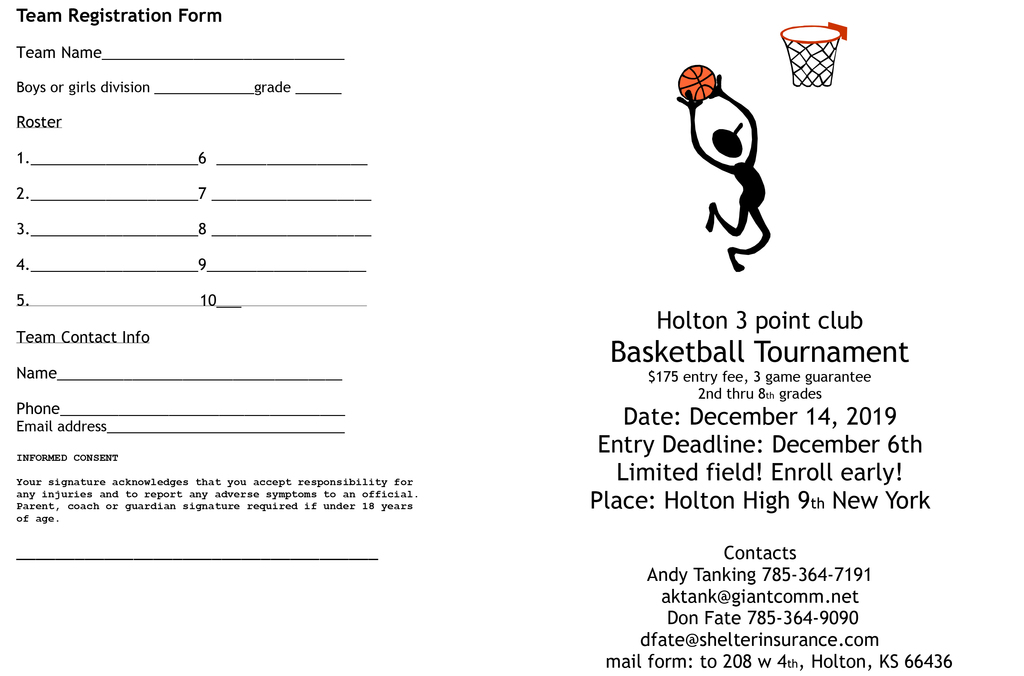 Holton Basketball Tournament flier
