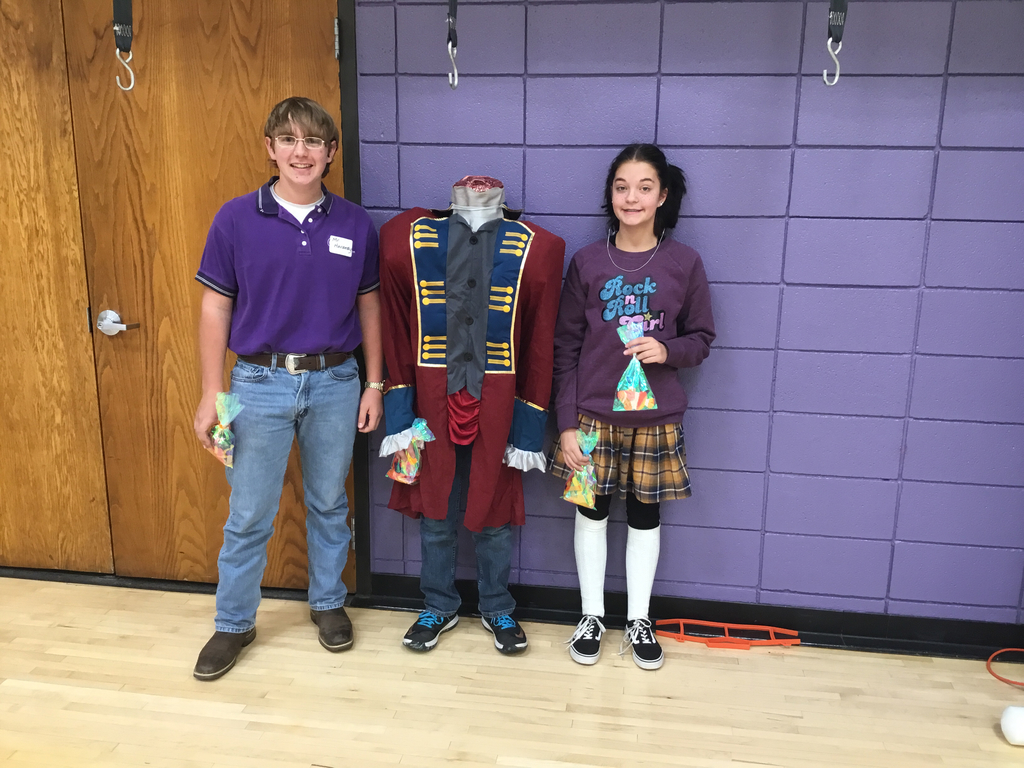 Mr. Hardesty, headless soldier and Darla are the 8th grade winners.