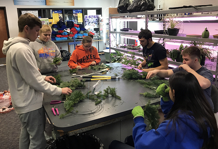 Horticulture students making wreaths