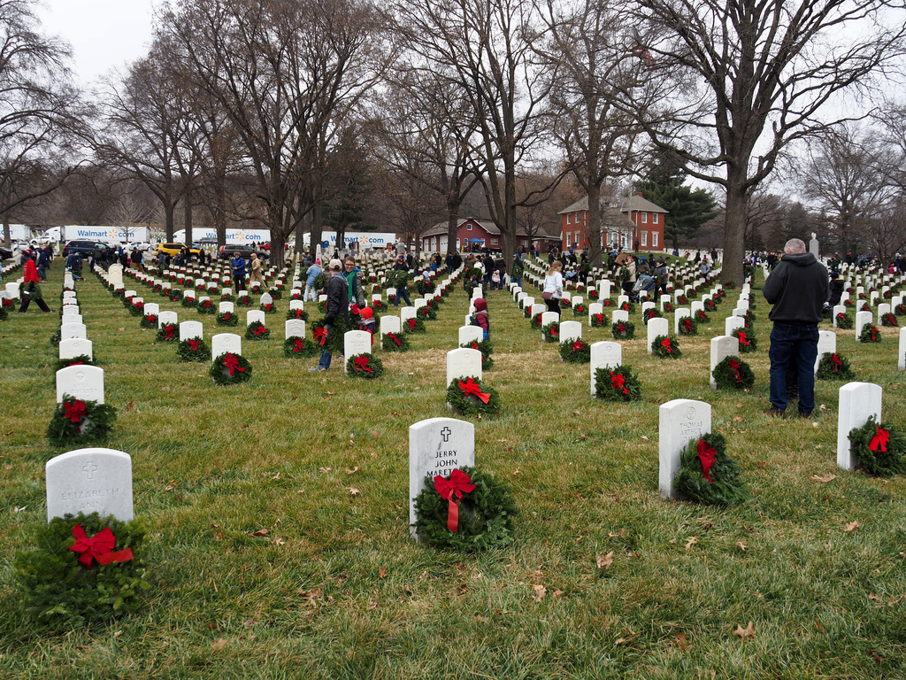 Ft. Leavenworth cemetery headstones with wreaths