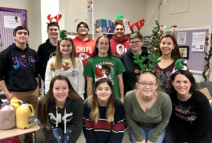 RVHS Yearbook staff in Christmas attire