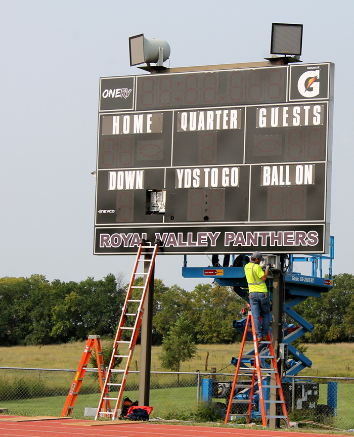new scoreboard being installed