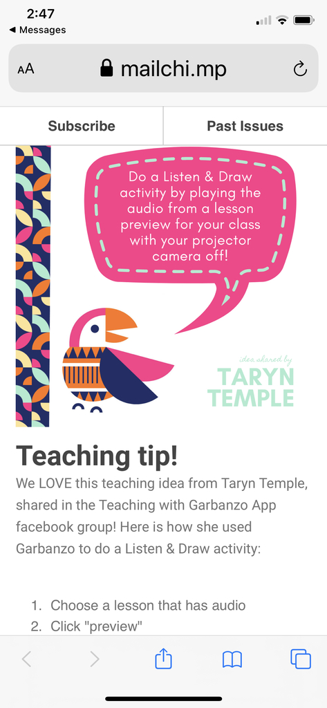 Teaching idea